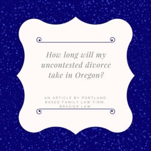 Oregon uncontested divorce