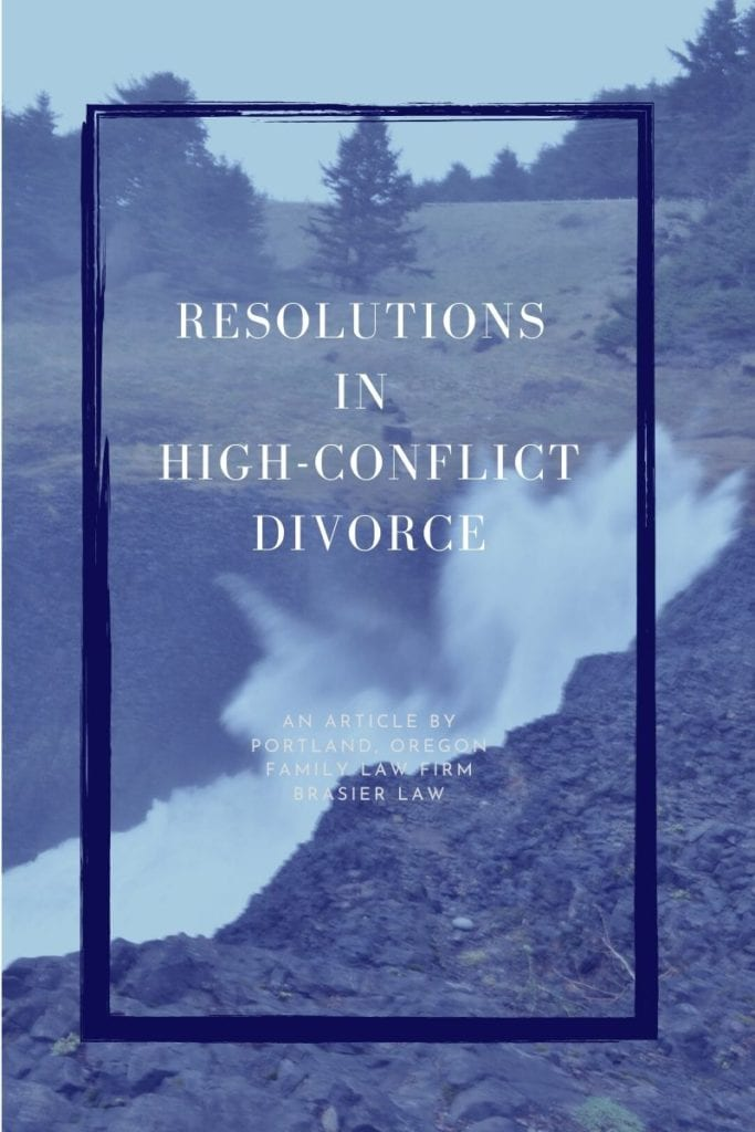 Finding resolutions in high-conflict divorce, a picture of waves hitting cliffs at the Oregon coast with text overlay saying finding resolutions in high-conflict divorce. Goes with article about Oregon divorce resolutions and high-conflict divorce.